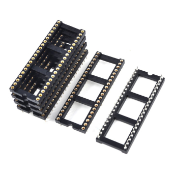 6x 2.54mm Pitch 40 Round Pins Double Row DIP IC Socket Adapter Solder - 2