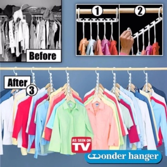 8 Pieces Portable Space Saver Wonder Magic Hanger Coat ClothesCloset Organizer Hooks(White) - 2