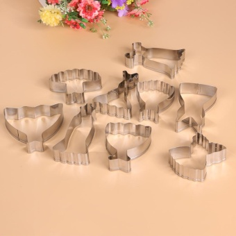 9pcs Stainless Steel Dress Various Shape Cookie Cutters Slicers SetFondant Molds (Silver) - intl - 2