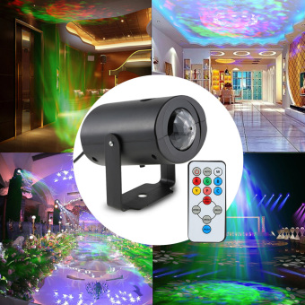 9W Mini RGBW Water Wave Ripple Effect Stage Light Speed Adjustable 7 Colors Lamp with IR Remote Support Static Color Auto-run RGB Flash for KTV Party Club Disco Pub Bar Banquet School Show Home Entertainment - intl - 3