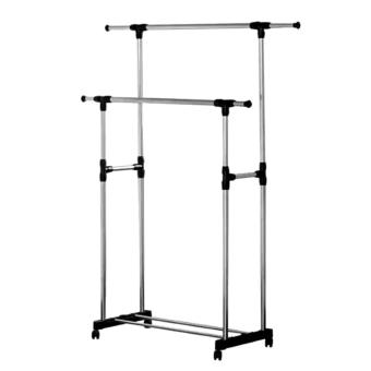 Adjustable Double Rail Garment Rack with Shoes Shelf on Wheels