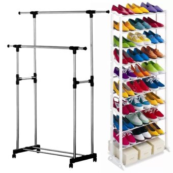 Adjustable Double Rail Garment Rack with Shoes Shelf on Wheels With ASOT Amazing Shoe Rack (White)