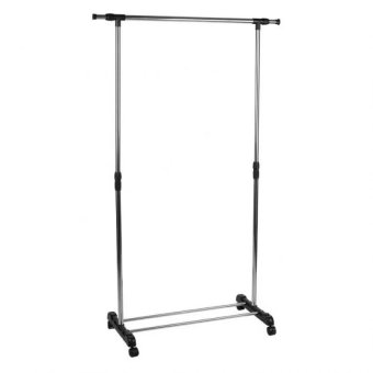 Adjustable Single Rail Garment Rack with Shoes Shelf on Wheels