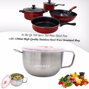 Ai Shi Qi 568 6pcs. Set Non-Stick Pan (Black/Red) with 1300ml HighQuality Stainless Steel Ware Insulated Mug