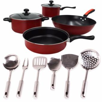 Ai Shi Qi 568 6pcs. Set Non-Stick Pan (Black/Red) With 6-pc. Stainless Ladle (one set)