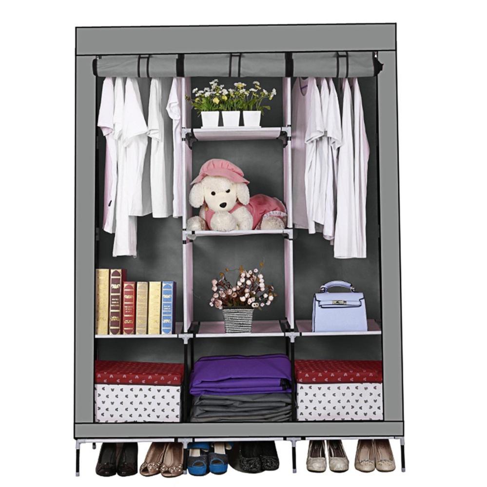 Ajusen Portable Wardrobe Closet Storage Organizer Cupboard ClothRack With Shelves - intl