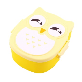 Allwin 1050ML Owl Lunch Box Bento food-safe Plastic Food Picnic Container Portable Box yellow