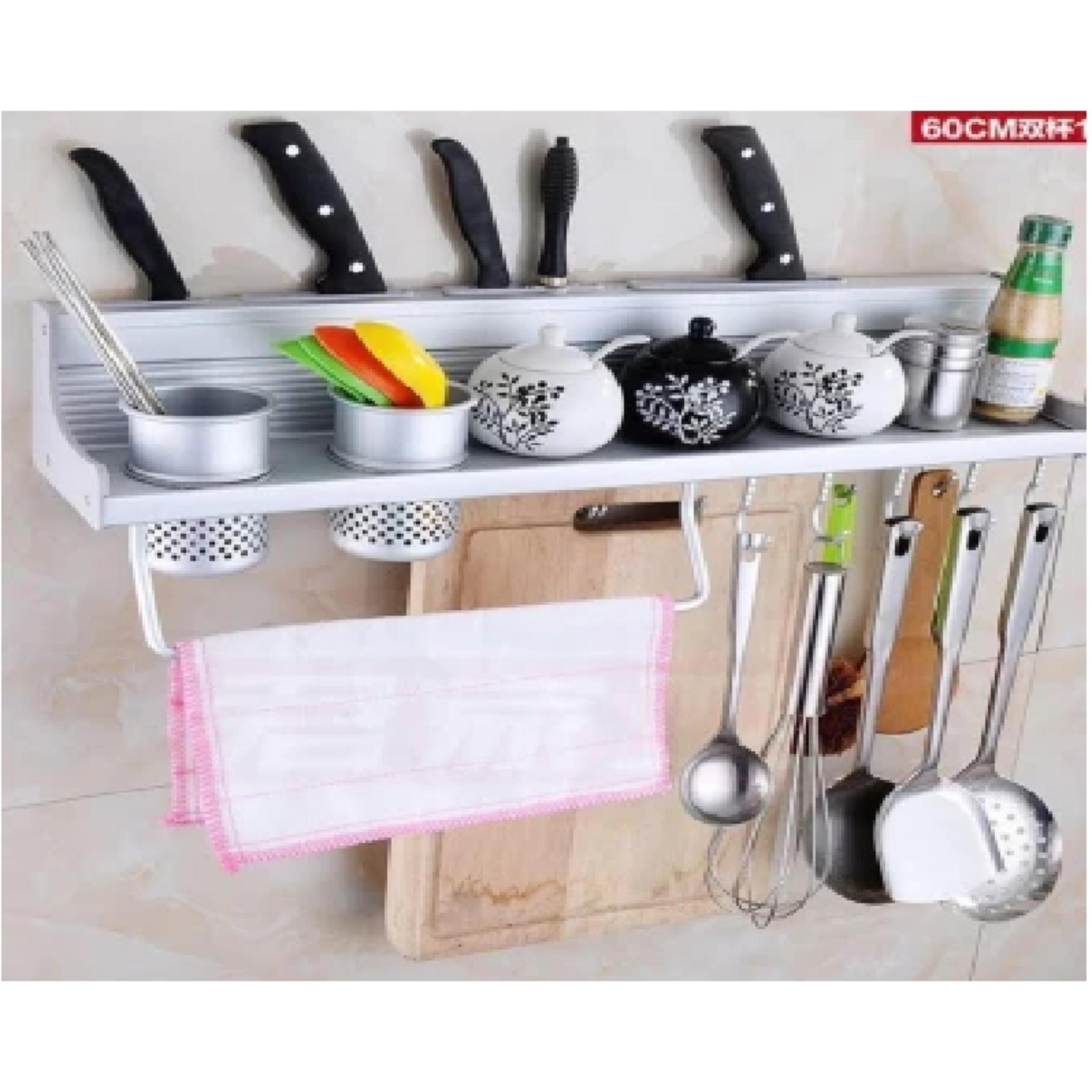 Aluminum Kitchen Storage Rack Pantry Pan Pot Organizer CookwareHolder Hooks  Spice Dinnerware Shelf ...
