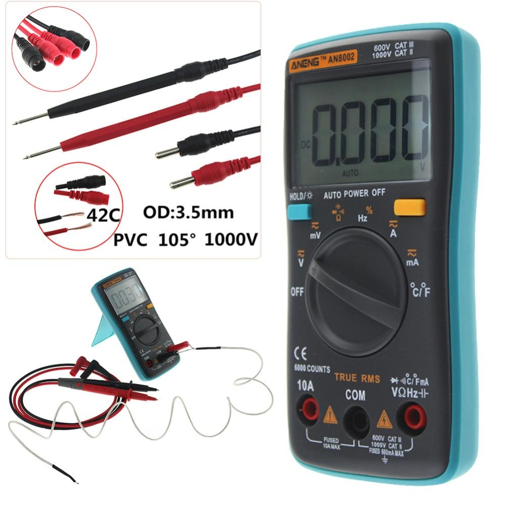 METERS 102 MULTIMETER 6000 COUNTS DOWN LIGHT AC DC AMMETER VOLTMETER OHM FREQUENCY .