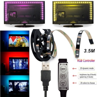 Angelila USB 5V RGB LED Strip Lighting Decor Lamp Tape SMD 5050 Strips with Mini Controller