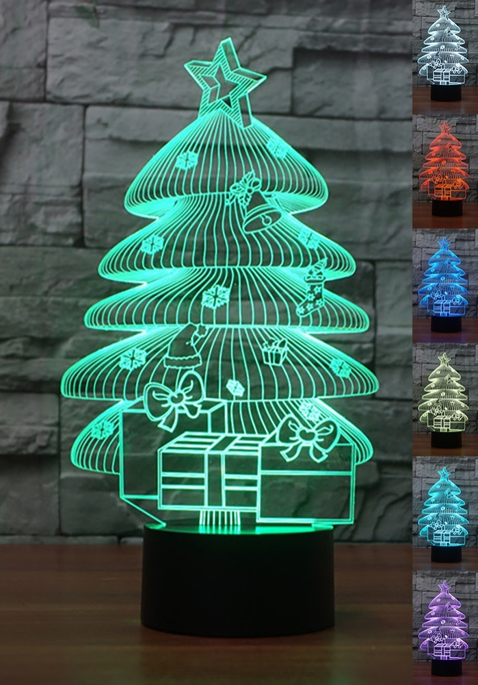 aptesol 3d led christmas night lampmulti color change button led desk table light lamp - Led Christmas Tree Lights That Change Colors