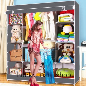 AS SEEN ON TV BIG SIZE Fashion Quality Curtain Type Multifunctional Wardrobe Storage Lockers gray