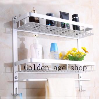 As Seen On TV Malaysia big size Alumimum Towel Bar Rack HolderHanger Bathroom Storage Shelf Wall Mounted Double Layer