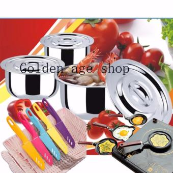 AS SEEN ON TV Stainless Steel 15 in 1 Stock Multifunction Pot andknife set and flying pan