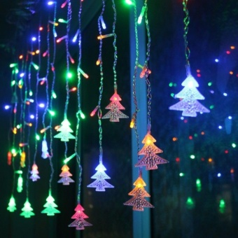 Aukur 3.5M 96LED Curtain Lights, Chtistmas Tree Style Curtain Lights,8 Modes,EU Plug, Linkable Design, LED Icicle Lights for Christmas/Wedding/Party/New Year Decorations(RGB) - intl