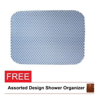 Bath House Anti slip mat small (blue) with free shower organizer