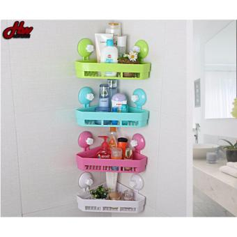 Bathroom Corner Shower Shelf With Suction Rack Organizer CupStorage
