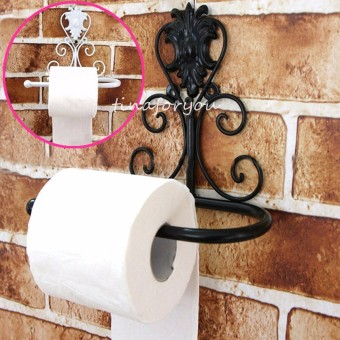 Bathroom Oil Rubbed Bronze Wall Mounted Toilet Paper Holder Tissue Roll Holder Black - Intl - 5