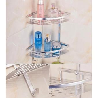 Bathroom Toilet Rack Double Aluminum Triangular Shelves BathroomAccessories Bathroom Shelves Tripods - intl - 2