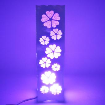 Beautiful Hollow Pattern Flower Shape Night Light Lamp (Violet)