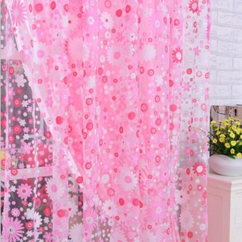Beautiful Print Floral Door Sheer Window Curtains Room Curtain Divider 2m x 1m - intl - 2