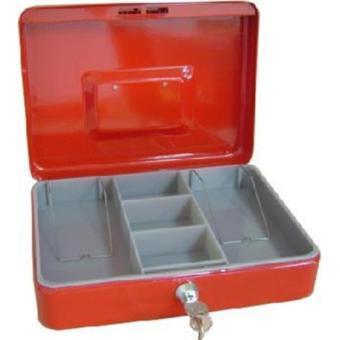 "BESQ86 - SS-320A 8"" - METAL CASH BOX W/ CYLINDER LOCK, 2 KEYS &REMOVABLE PLASTIC TRAY, SIZE: 19.5 (L) X 15.3 (W) X 7.5 (H) CM, RED - 2"