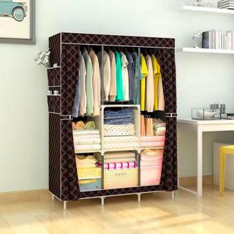 Best Quality Quality Multifunctional Wardrobe Storage Cabinet DustCover Waterproof (Brown) Size 170 X 130 X 45 CM - Style 2