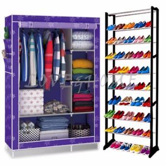Better One 105NT Zipper Fashion Storage Wardrobe (Purple Flower) With High Quality Amazing Shoe Rack (Black)