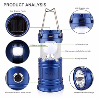 BIG Solar Rechargeable Camping Super Bright Lantern Collapsible Portable LED Camp Light Flashlight Emergency Light Power Bank for Mobile Phones Battery Powered for Sports, Camping & Hiking - 3