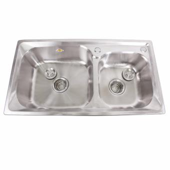 B.I.T. 81x43x23cm SUS 304 Stainless Steel 2 Double Tubs KitchenSink Set (SIlver) - 2