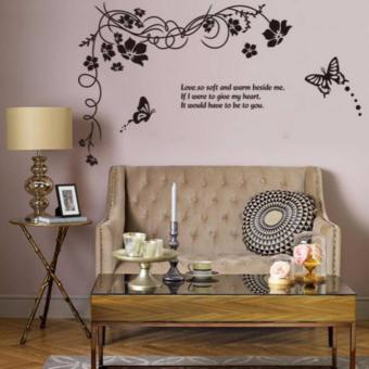 Black Floral vine with 2 butterflies and quote Wall Decal Price Philippines