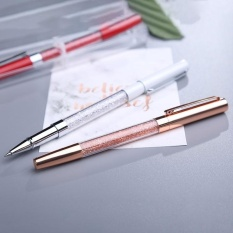 Blue Ink Refill Metal Crystal Pen Ballpoint Pens Gift SchoolStationery Office Supplies, Random Color Delivery