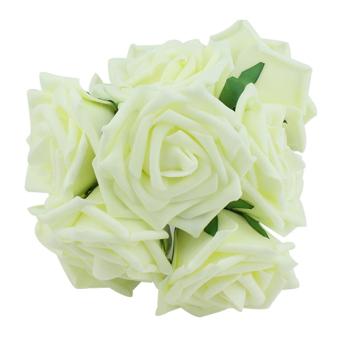 Blue lans Bridal Bouquet Rose Flower Decor Set of 10 (Cream Ivory)