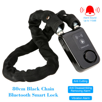 Bluetooth 80cm Black Chain Smart Lock Anti Theft Alarm KeylessPhone APP Control Lock - intl - 5