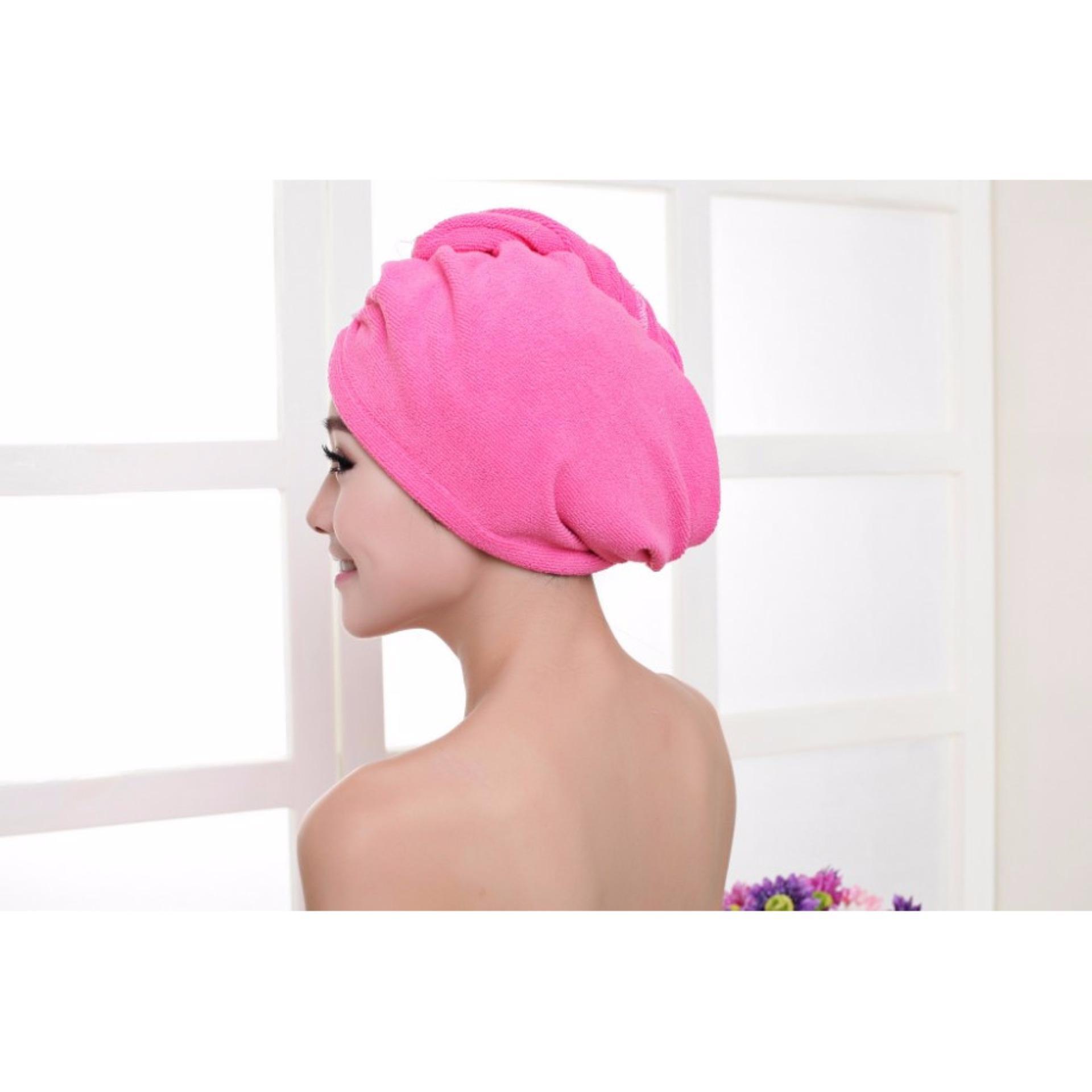 ... BM Quick Dry Microfiber Towel Hair Magic Wrap Hat Cap (Pink) ...