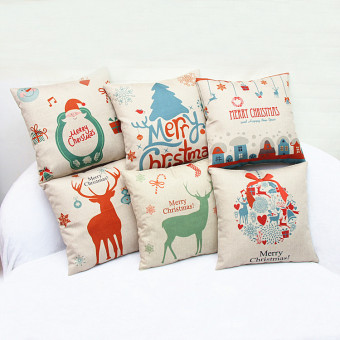 BolehDeals Merry Christmas Tree Cotton Linen Throw Pillow Case Cushion Cover Home Decor