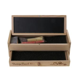 BolehDeals Multi-function Wooden Vintage Writing Case Pencil Box Pen Organizer Kid Gift - intl - 4