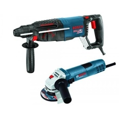 Bosch 11255VSR-GWS8 1 SDS-plus Bulldog Xtreme Rotary Hammer with 4-1/2 Small Angle Grinder, Blue - intl Philippines
