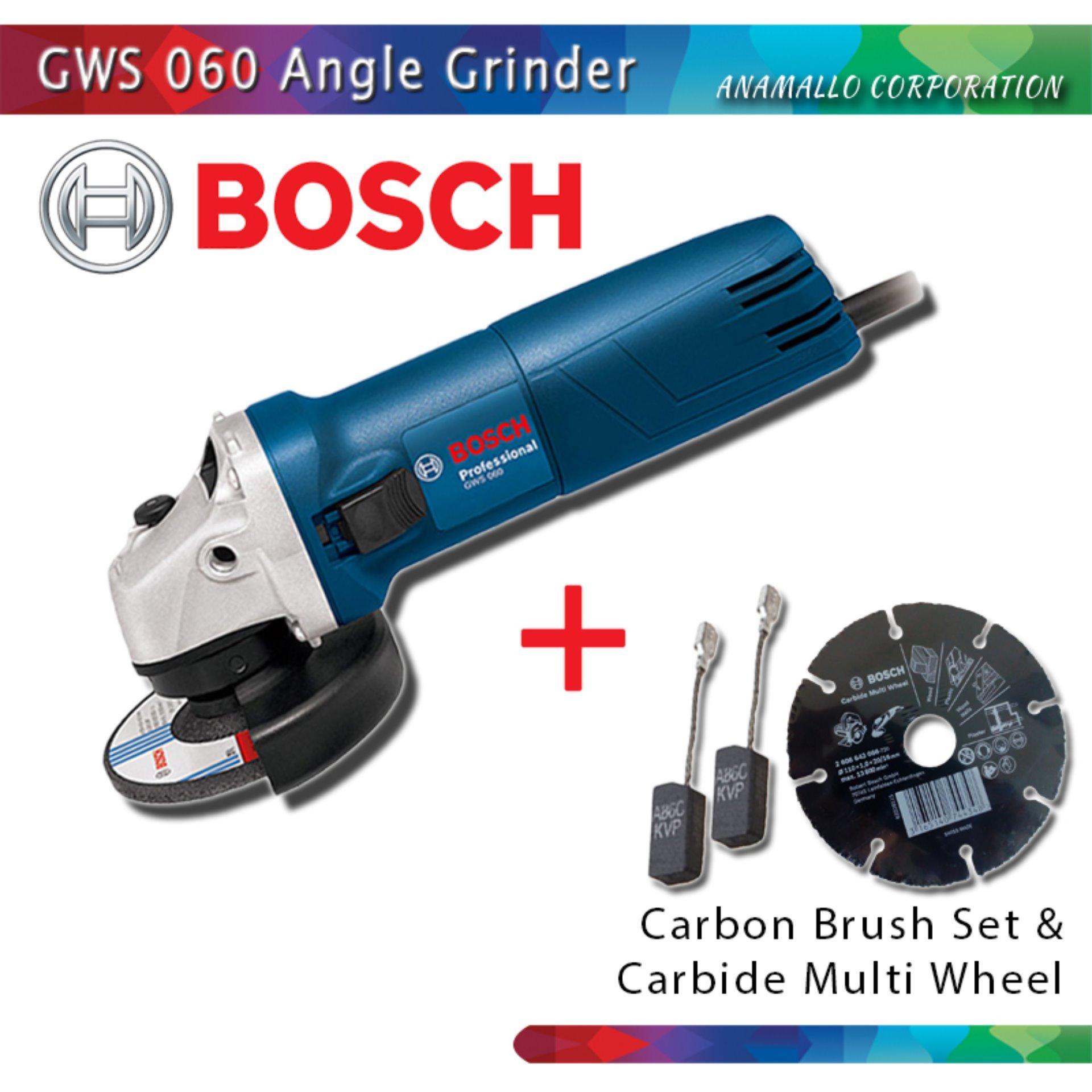 BOSCH GWS 060 Angle Grinder w/ Carbon Brush Set & Carbide .
