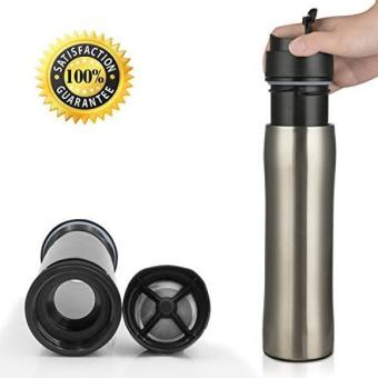 BRBHOM Portable French Press with Separation Filtration SystemFlexible Coffee Maker BottleTravel Mug Tumber 350ML 12OZ (Silver)