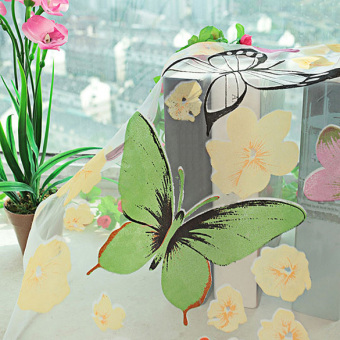 Burned / Washable Butterfly Curtains Bedroom Finished TransparentYarn Children's Window Living Room Butterfly Decoration - intl - 2