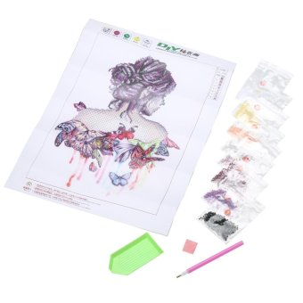 Butterfly Beauty Girl 5D Diamond DIY Painting Craft Kit Home Decor- intl - 2