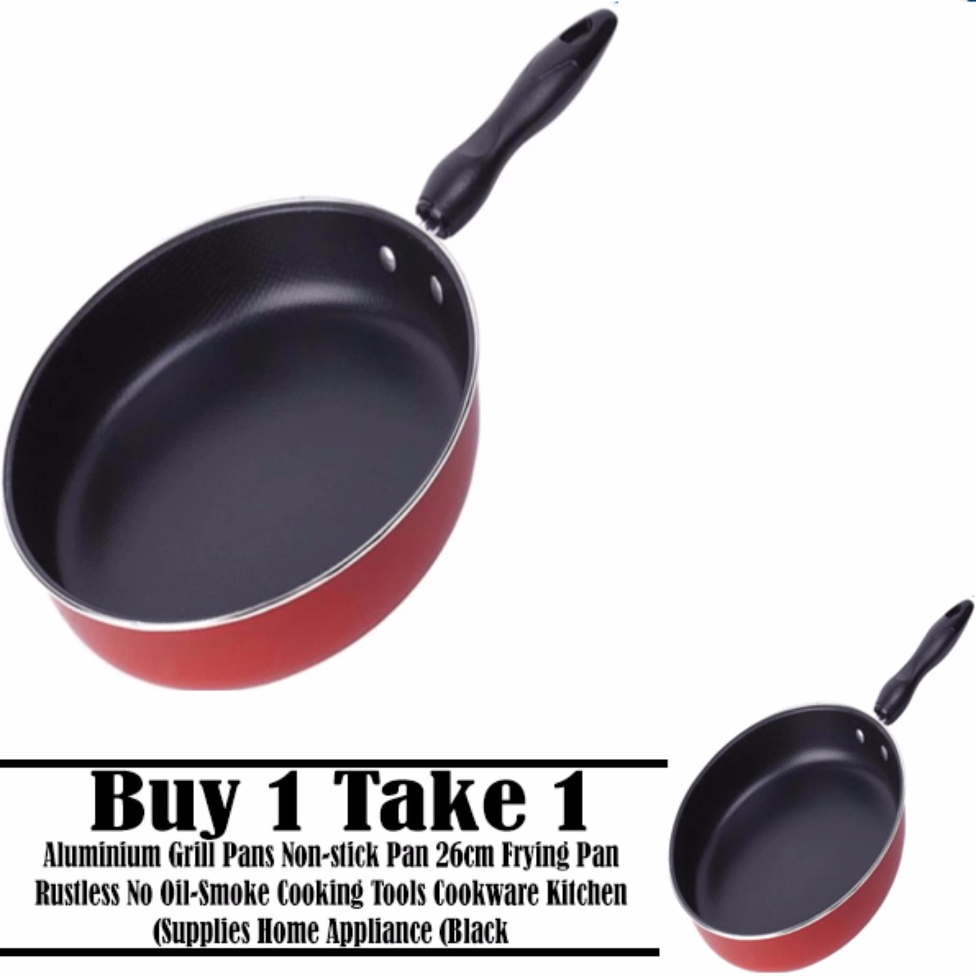 (Buy 1 take 1) Aluminium Grill Pans Non-stick Pan 26cm Frying PanRustless No Oil-Smoke Cooking Tools Cookware Kitchen Supplies HomeAppliance (Black)