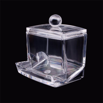 BUYINCOINS Clear Acrylic Q-Tip Holder Box Cotton Swabs Stick Storage Cosmetic Makeup Case
