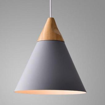 BUYINCOINS E27 Simple Wood Pendant Ceiling Hanging Lamp Chandelier Kitchen Light Fixture S Black - intl