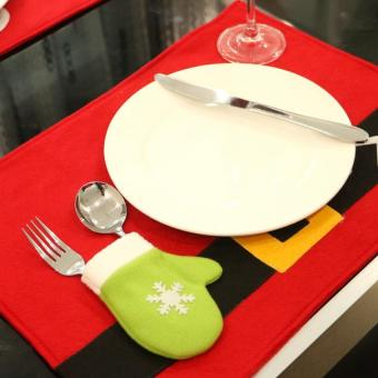 BUYINCOINS Newest Christmas Table Covers Santa Claus TablePlacemats Coaster Cover Runner Mat Cutlery Holder - intl - 4