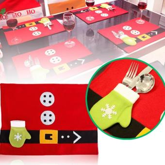 BUYINCOINS Newest Christmas Table Covers Santa Claus TablePlacemats Coaster Cover Runner Mat Cutlery Holder - intl - 3