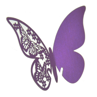 Buytra Table Mark Wine Glass Cards Favor Butterfly Purple