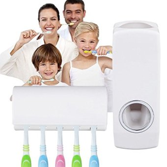 Bylautomatic toothpaste dispenser and tooth brush holder set
