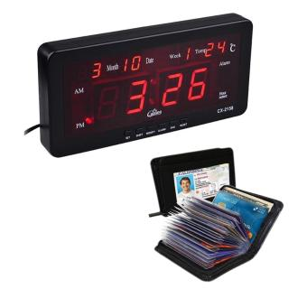 Caixing CX-2158 Digital LED Alarm Clock (Black) With SecurityCredit Card Wallet (Black)